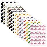 FineGood Selbstklebende Papier-Aufkleber für Fotoalbum, Album, Tagebuch, persönliche Organizer, Notizbuch, 15 Bögen, 14 Farben