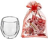 Feelino 1x 410ml Jumbo XXL doppelwandiges Thermoglas + 3x BIO-Teeblumen aus weißem Tee mit natürlichen Blüten / doppelwandiges Thermo Glas mit Schwebe-Effekt