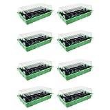 8x Zimmergewächshaus - für bis zu 192 Pflanzen, ca. 36 x 22 x 12 cm (LxBxH) je Mini Gewächshaus, Kunststoff, grün / schwarz / transparent