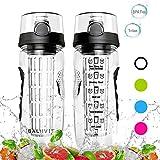 Balhvit Trinkflasche, [BPA Frei Tritan] Auslaufsicher Trinkflaschen Sport, Kunststoff Wasserflasche mit Fruchteinsatz & 1-Click-öffnet Flip Top, Wasser Flasche Ca. 1L, Sportflasche (Schwarz)