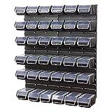 40 teiliges Werkstattwand Lagerregal inkl. Stapelboxen schwarz Wandplatten Ergobox Plus Deckel Gr. 2