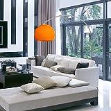 CCLIFE Bogenlampe Stehlampe Stehleuchte Bogenleuchte Bogenstandleuchte Standleuchte mit Marmorfuß Kunststoffschirm weiß/orange, Farbe:Weiss