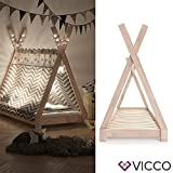 Vicco Kinderbett TIPI Kinderhaus Indianer Zelt Bett Kinder Holz Haus Schlafen Spielbett Hausbett 80x160 (Natur)