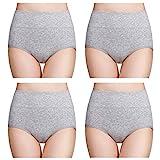 wirarpa Damen Unterhosen Baumwolle Slips Damen Hoher Taille Atmungsaktive Taillenslip Wochenbett Unterwäsche Mehrpack Größen 32-58, Grau, Large (42/44)
