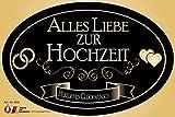 'Alles Liebe zur Hochzeit' Aufkleber Flaschenetikett Etikett oval gold elegant