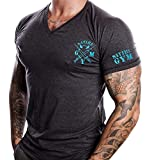 Satire Gym Fitness T-Shirt Herren - V-Neck - Geeignet Für Workout, Training - Slim Fit - Farbe Anthrazit (XXL, anthrazit - neon grüner Stick)