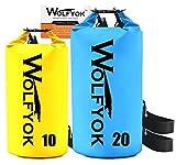 2 Stück 20L / 10L Wolfyok Wasserdichter PVC Stausack, Trockentasche mit Einstellbarer Schulterriemen Nylon Beutel für Kajak, Motorbootfahren, Campen, Backpacking, Badewanne, Paddeln