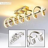 Deckenleuchte spiralförmig – Moderne Designer-Lampe mit LED-Lichtleisten – Metall-Leuchte für die Wohnzimmer-Decke in einem gemütlichen, warmweißen Licht – Aufregende Wohnraumlampe mit Spezialeffekt