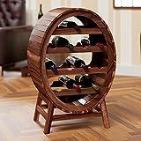 Deuba Weinregal für 12 Flaschen aus massiv Holz im stilvollem Design Höhe 90cm Weinständer Weinfass Flaschenregal Fass Flaschenständer Vintage