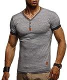 LEIF NELSON Herren T-Shirt V-Ausschnitt Sweatshirt Longsleeve Basic Shirt Hoodie Slim Fit LN1390; Größe L, Anthrazit