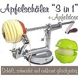 Made for us - Profi Alu- Apfelschäler Apfelschneider Apfelentkerner Schälmaschine mit Apfeldose, in Silbergrau