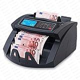 Stückzahlzähler Geldzählmaschine Euro Prüfung Geldzähler Geldscheinzähler Scheine SR-3750 LCD UV/MG/IR von Securina24 (Schwarz - LCD)
