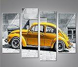 Bild Bilder auf Leinwand Käfer Kult Auto Beetle 4er XXL Poster Leinwandbild Wandbild Dekoartikel Wohnzimmer Marke islandburner