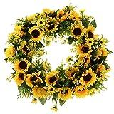 perfeclan Landstil Türkranz Wandkranz Dekokranz mit Sonnenblumen und Rattan Design, 2 Größe Auswahl - 42 cm