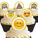 Cakeshop 24 x Vorgeschnittene und Essbare Emoji Kuchen Topper (Tortenaufleger, Bedruckte Oblaten, Oblatenaufleger)