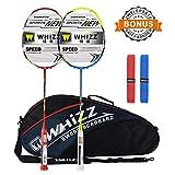 Whizz Badminton Schläger Set Racket 100% Graphit Carbon 2 STK. Verbesserte Version mit Rahmen Schutzhülle & Schlägertasche & 2 Griffbänder (Rot+Blau)