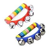 Newin Star Rasseln Babyphone, Holz-Glöckchen, Handbell Rassel Musik Musikinstrumente für Kinder und Babyphone (Regenbogen)