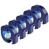Dymo Plastic White 12mm x 4m, 5-Packung Kompatibel Dymo S0721660 Etikettenband für Dymo LetraTag LT-100H LT-100T Etikettendrucker Handgerät (LetraTag-Etikettiergeräte, Kunststoff, schwarz auf weiß)