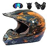 GWJ Adult Off Road Helm Dot Dirt Bike Motocross ATV Helm/Brille/Maske/Handschuhe,Orange,M