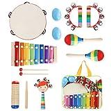 Yissvic 11PCS Musikinstrumente Musical Instruments Set Spielzeug von Holz Percussion Schlagzeug Schlagwerk Rhythmus Band Werkzeuge für Kinder und Baby