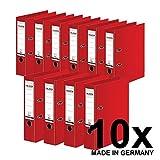 Original Falken 10er Pack Chromocolor Premium-Ordner. Made in Germany. Kunststoffbezug außen und innen 8 cm breit DIN A4 rot Ringordner Aktenordner Briefordner Büroordner Plastikordner