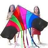 Tomi Kite–Riesiges Regenbogen Drachen, Ideal per Kinder und Erwachsene–Einfach zu fliegen bei starkem Wind oder leichter Brise–1,5 M breit–100 Meter Schnur–6 Schnuren–Hergestellt zur Dauerhaftigkeit