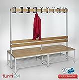Furni 24 Umkleidebank Sitzbank Doppelseitig mit Garderobenhaken und Schuhrost 200 cm x 170 cm x 85 cm