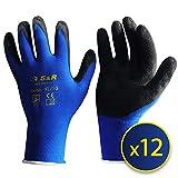 S&R Arbeitshandschuhe 12 Paar XL aus NYLON mit LATEX-Beschichtung, 'DRIVE-GRIFF'-Technologie Schutzhandschuhe geeignet für den privaten und gewerblichen Gebrauch (XL/10)