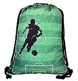 HECKBO Jungen Mädchen Kinder Turnbeutel - Fussball Soccer Football Motiv - waschmaschinenfest - 40x32cm - Kindergarten, Krippe, Reise, Sporttasche - Rucksack, Tasche, Spieltasche, Fussballtasche
