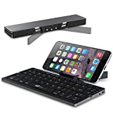 Faltbare Bluetooth Tastatur EC Technology Portable Kabellose Wireless Mini Keyboard mit Stand Ultra kompakt Wiederaufladbar für Android Windows iOS, Farbe - Schwarz