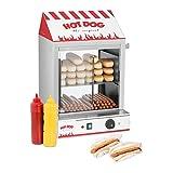 Royal Catering Hot Dog Steamer Würstchenwärmer RCHW 2000 (Kapazität: 200 Würstchen, 50 Brötchen, Leistung: 2.000 W, Edelstahl, Temperaturbereich: 30 - 110 °C, Ablassventil)