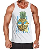Neverless Herren Tank Top Chilling Ananas Pinapple Sommer Beach Party Slim Fit Tanktop weiß L