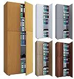 VCM Büroschrank Aktenschrank Bücherregal Aktenregal Schrank Regal Lona 5-Fach Drehtüren Sonoma-Eiche