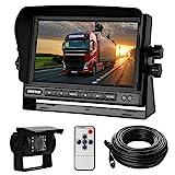 Rückfahrkamera-Set mit 7'-LCD-Monitor & 170° Weitwinkel- Rückfahrkamera, IP68 wasserdicht, 18IR Nachtsicht, für LKW/Anhänger / Bus/Van / Landwirtschaft/Schwertransport(12-24 Volt)