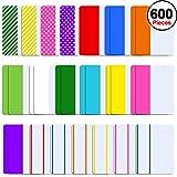 SIQUK 600 Pieces Sticky Tabs 2-Zoll-Seitenmarkierung (Registerkarte) Bunte Index-Registerkarten für Bücher und Dateiordner