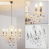 Kronleuchter aus Acryl klar - Klassische Hängeleuchte für Esszimmer - Wohnzimmer - Schlafzimmer - Flur - Aufhängungshöhe kann geändert werden
