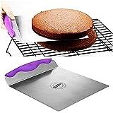 Kuchenheber dünne Edelstahlplatte mit Griffmulde Tortenhebeblech Kuchen Retter für Torten und Kuchen