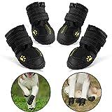 RoyalCare Wasserdichte Hundeschuhe, Wasserdicht mit anti-rutsch Sole passend für mittlere und große Hunde, 4-er schwarz 8#