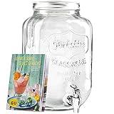 """Levivo Getränkespender aus Glas, mit Zapfhahn, ideal für die Bar im Haus/exklusives GU Booklet """"Sommerdrinks– selbst gemacht"""" gratis zum Getränkespender mit Zapfhahn, 8 Liter Füllvolumen"""