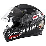 O'Neal Challenger Wingman Street Integral Helm Motorrad Magnetverschluss Fidlock Sonnenblende, 0805-2, Farbe Schwarz, Größe M