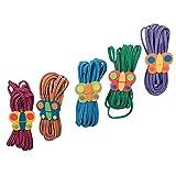 Gummitwist 'Schmetterlinge' im bunten 5er Set, Gummihopse fördert Geschicklichkeit und Fitness, mit bunten Schmetterlingshaltern aus Holz, ab 5 Jahre