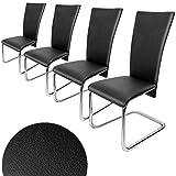 4er SET Freischwinger Esszimmerstuhl schwarz - Stühle Sitzgruppe Esszimmer Stuhl Esszimmerstühle