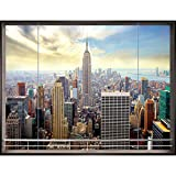 Fototapete Fenster nach New York 396 x 280 cm Vlies Wand Tapete Wohnzimmer Schlafzimmer Büro Flur Dekoration Wandbilder XXL Moderne Wanddeko - 100% MADE IN GERMANY- NY Stadt City - Runa Tapeten 9026012a