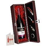 DKDS Collection Wein-Präsentbox aus Holz mit Don Aurelio Syrah Rotwein und 4-teiligem Sommelier-Set (1 x 0.75 l)