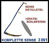 Sense 70cm kompl. SENSE, METALLSTIEL, SCHLEIFSTEINS; Wetzstein Sensenstiel Klappsense Wettschliff SET ES 3in1