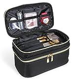 Lifewit Tragebare Makeuptasche Kosmetikkoffer Kosmiktasche mit Zwei Separate Reißverschlussfächern, Kulturbeutel für Kosmetikartikel mit einen Tragegriff aus Polyester, Schwarz