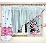 GMM-3 DISNEY Kindergardine für Mädchen / Kinder mit Motiv MINNIE MOUSE für Kinderzimmer / Mädchenzimmer / Vorhänge pink