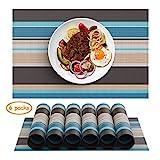 Chefic Tischsets, Premium Platzset Abwischbar 6er Set PVC rutschfest Platzdeckchen Abwaschbar, 45x30cm Platzsets Nicht absorbierende Schmutzabweisend Tischmatte (Blau/Braun, 6er)