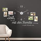 KLEBEHELD Wandtattoo Uhr Familienzeit mit Fotorahmen und Spruch für Wohnzimmer und Wohnbereich Farbe schwarz, Größe 120x69cm ( B x H ) | Uhr schwarz | Umlauf 44cm