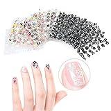 CINEEN Nagel Kunst Sticker 50 Blatt 3D Nail Art Sticker Aufkleber Manicure Schöne Mode Accessoires Dekoration schwarz + weiß+Bunte